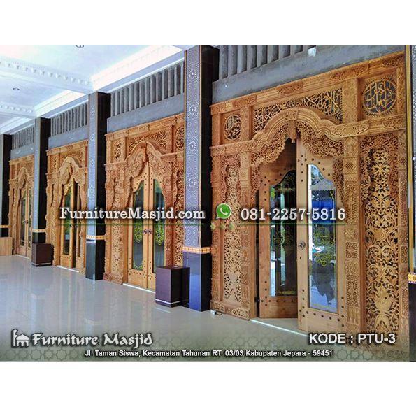 Gebyok Kaligrafi Pintu Masjid Kusen Jati Furniture Masjid
