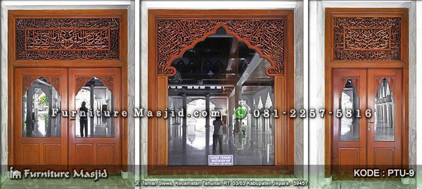 Pintu Jendela Masjid Jati Ukir Kaligrafi Furniture Masjid