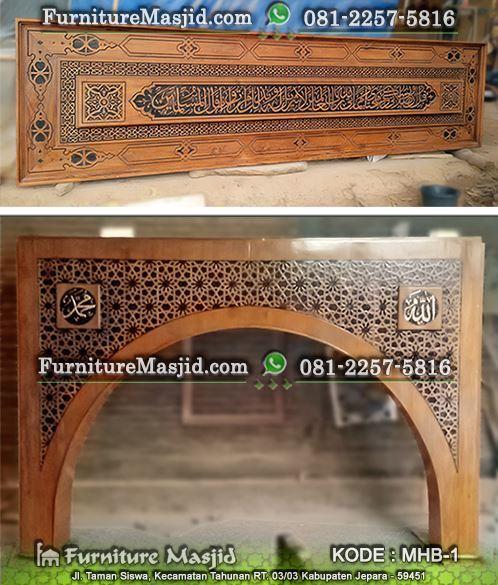 ornamen mihrab kaligrafi masjid minimalis modern