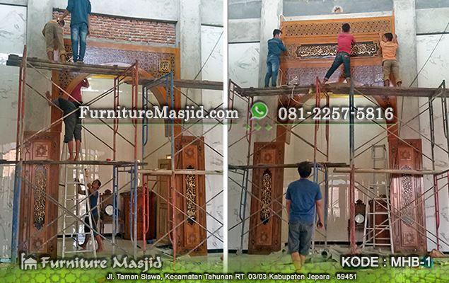 pemasangan mihrab masjid kaligrafi minimalis modern