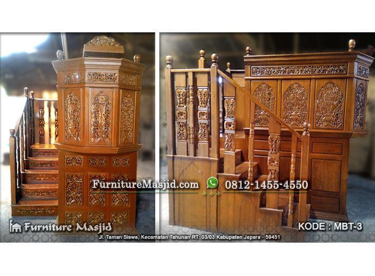 mimbar masjid mewah ukir kayu jati