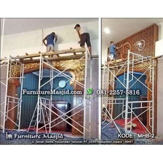 jasa pemasangan mihrab masjid kayu jati