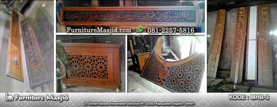 ornamen mihrab masjid kayu jati