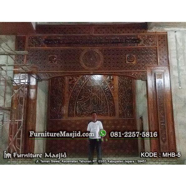 jasa pembuatan kaligrafi pengimaman masjid kayu jati