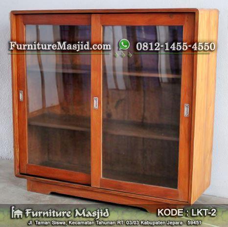 lemari rak kitab kayu jati untuk masjid