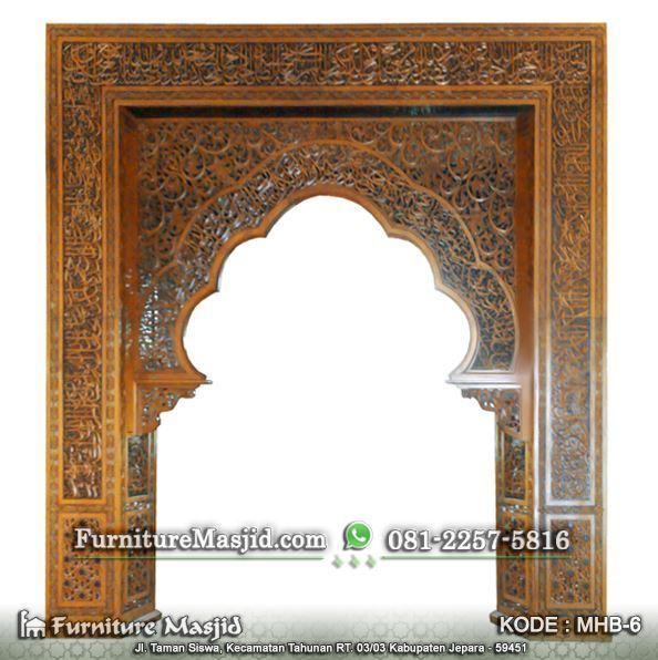 desain kaligrafi mihrab pengimaman masjid