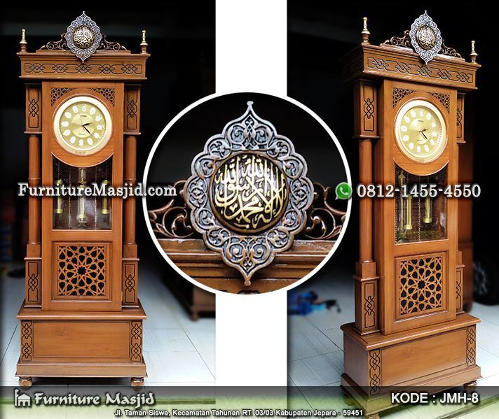 lemari jam hias masjid minimalis terbaru