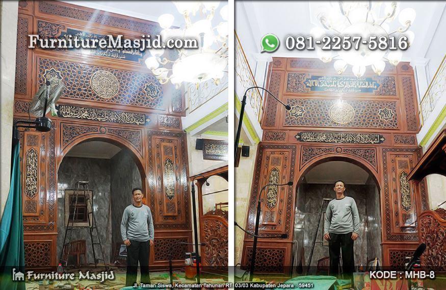 ornament pengimaman masjid kayu jati tpk