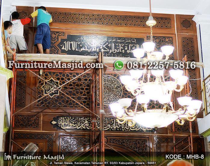 pemasangan mihrab kaligrafi masjid
