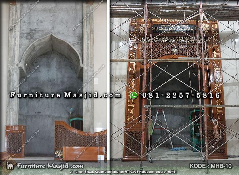 pemasangan kaligrafi mihrab masjid minimalis