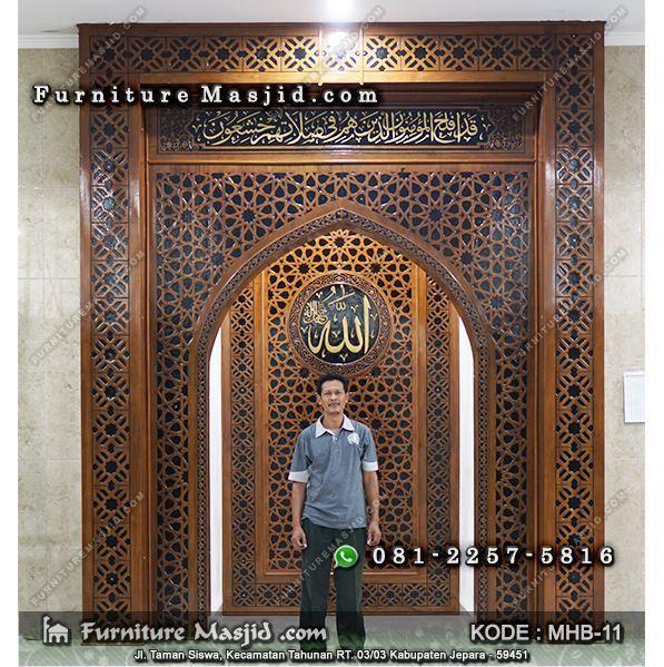 kaligrafi jati mihrab pengimaman mushola