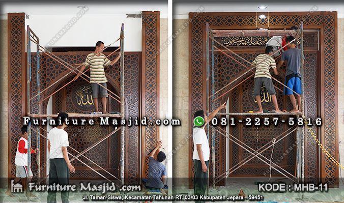 mihrab kaligrafi kayu jati pengimaman mushola