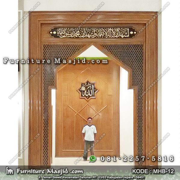 mihrab masjid kayu jati minimalis modern