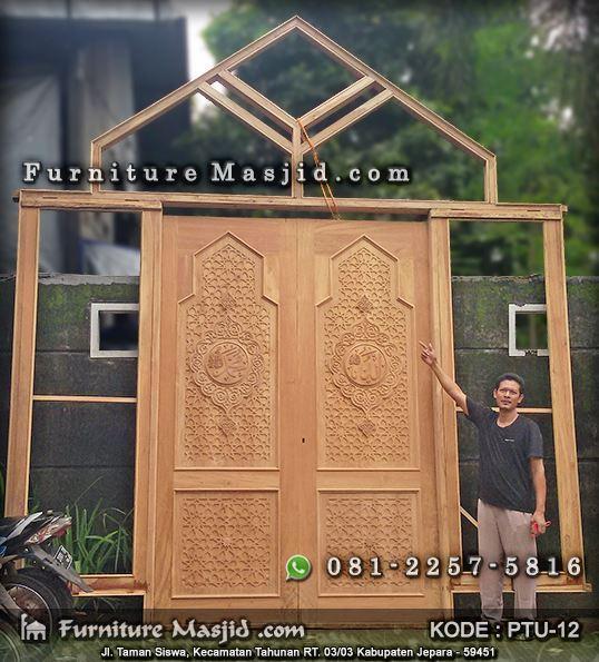kusen pintu masjid minimalis kayu jati