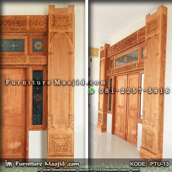 model pintu masjid ukir kayu jati