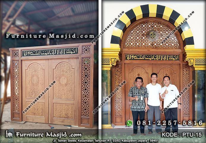 pusat pintu masjid kayu jati jepara