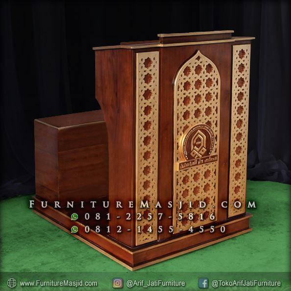 Podium Masjid Minimalis Kayu Jati Murah