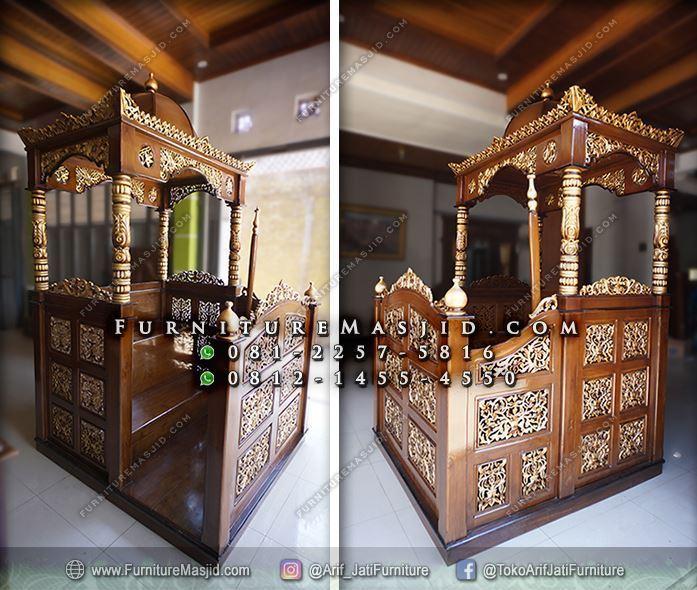 mimbar masjid kubah kayu jati ukuran jumbo