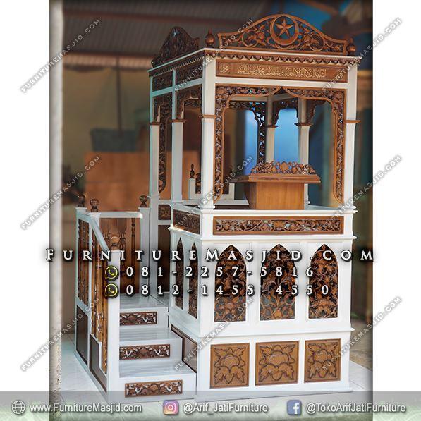 mimbar masjid kayu jati tangga samping