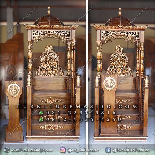 Mimbar Masjid Kubah Kayu Jati Ukir Jepara