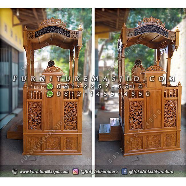 Mimbar Masjid Mewah Ukir Kaligrafi Jepara