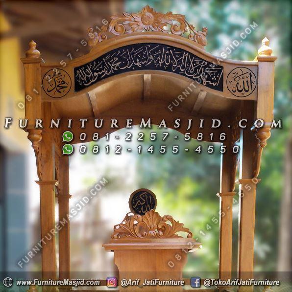 Mimbar Masjid Ukir Kaligrafi Jepara Terbaru