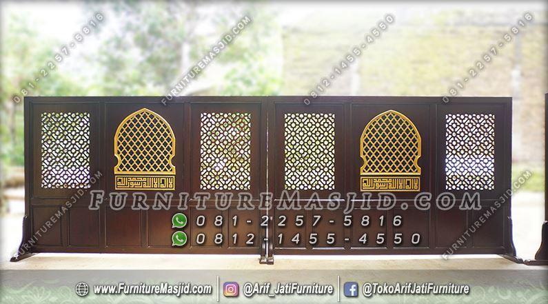Penyekat Masjid Kayu Jati Minimalis