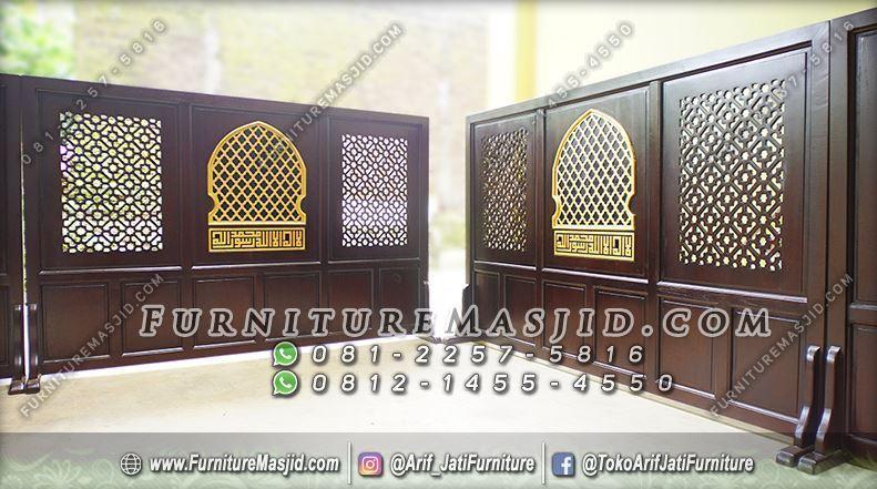 Tabir Masjid Kayu Jati Minimalis Modern
