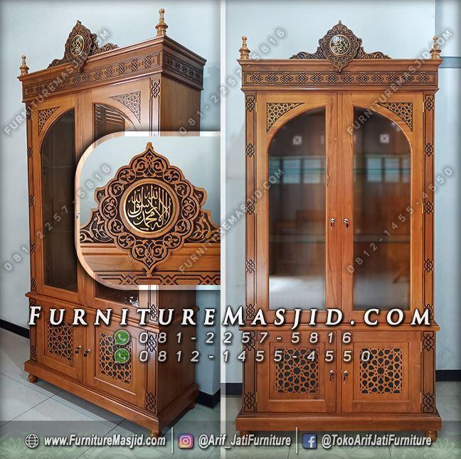 Lemari Masjid Kayu Jati Ornamen Arabic