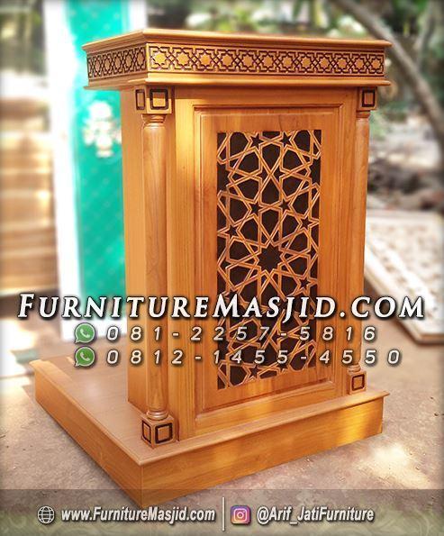 Podium Masjid Minimalis Modern Kayu Jati