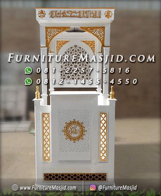 Mimbar Masjid Minimalis Warna Putih