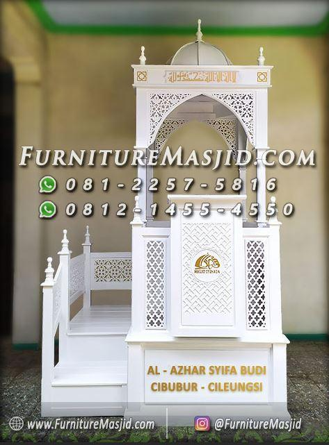 Mimbar Masjid Tangga Samping Warna Putih