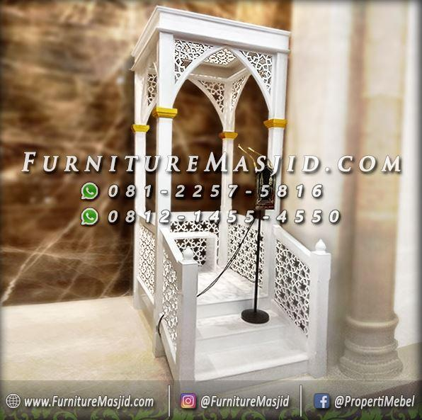 Mimbar Masjid Minimalis Modern Warna Putih
